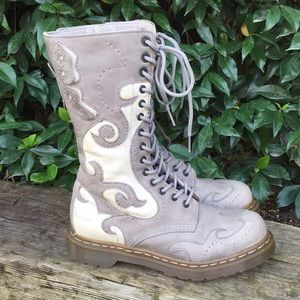 RARE Dr Martens Adina Butterfly Grey Boots